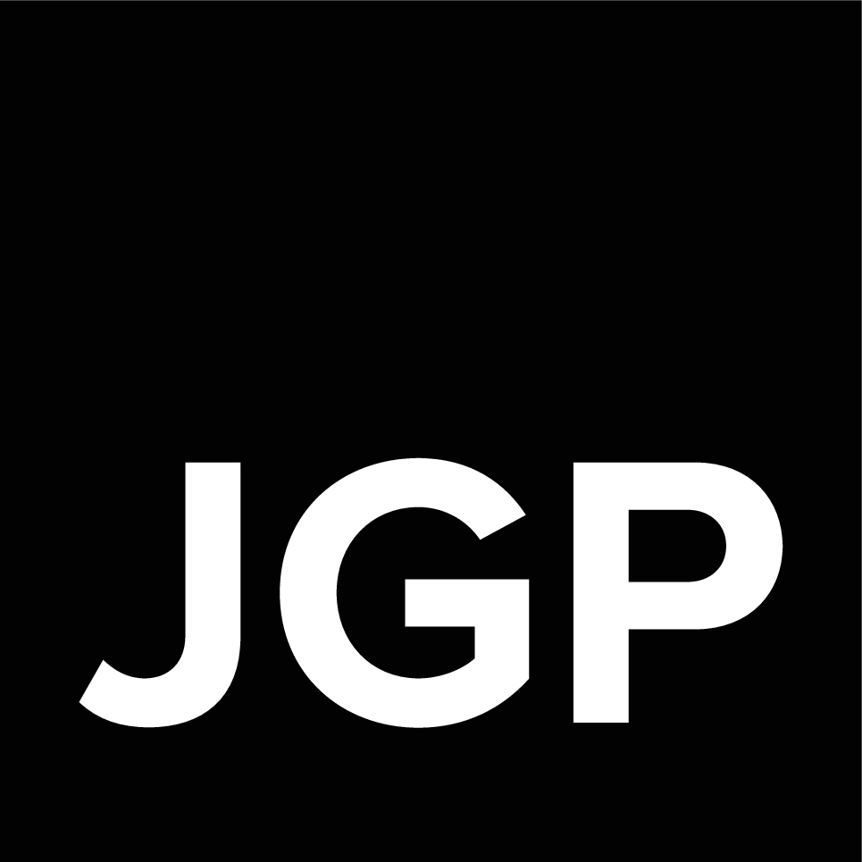 white JGP logo on a black square